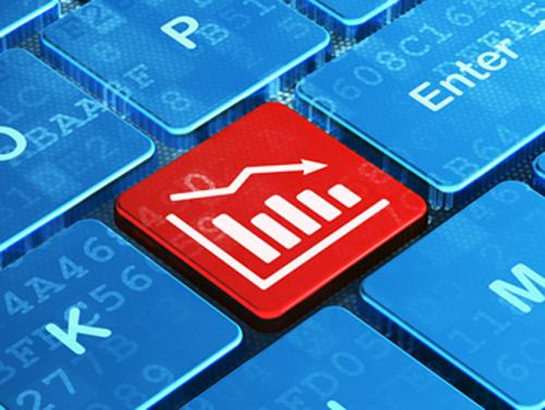 TechniTrader down market design red keyboard button with blue around