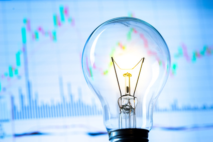 Trading strategies stock graph and light bulb